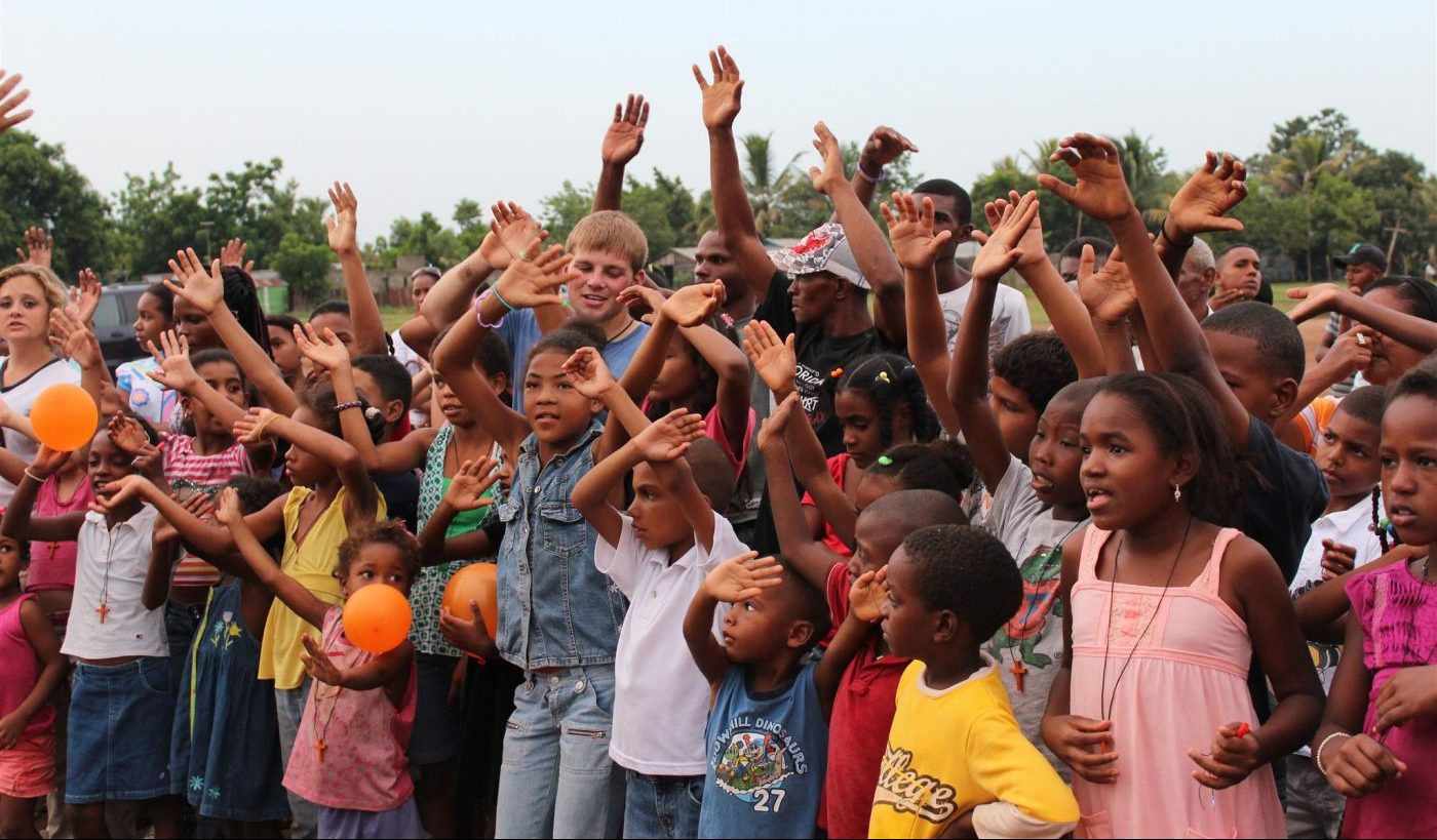 Children singing on a Christian Mission Trip