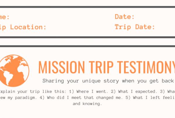 Mission Trip Testimony worksheet