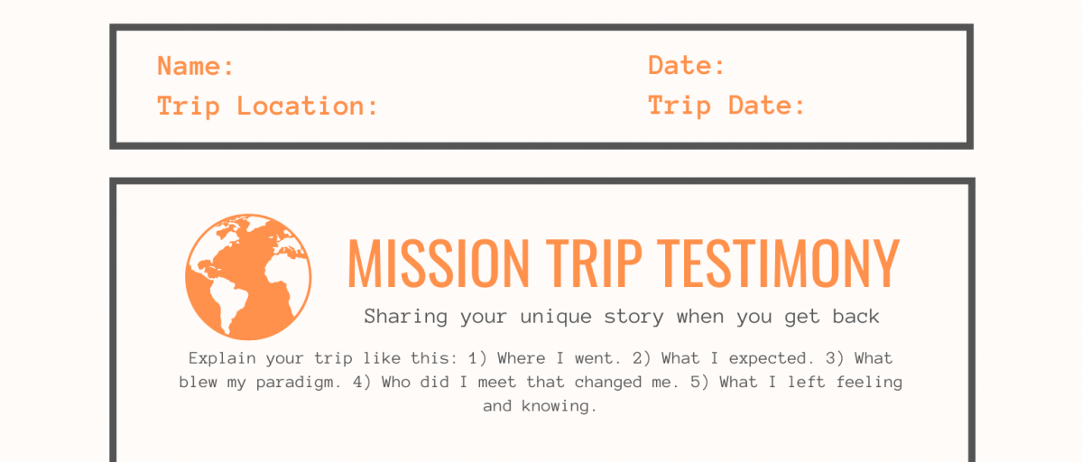 Sharing your Mission Trip Testimony